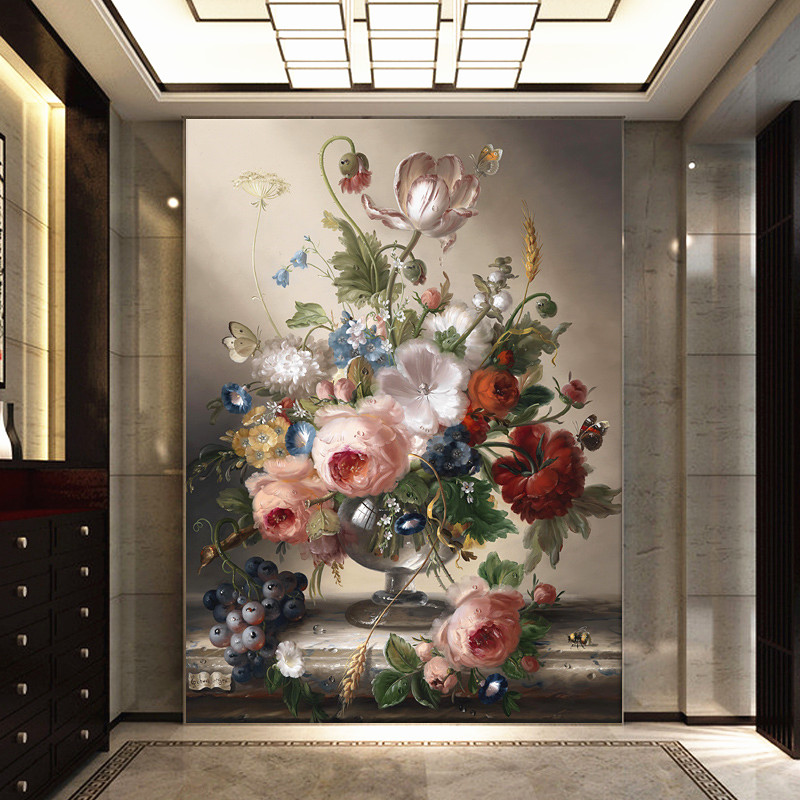 European Modern 3D entrance hallway Background Wallpaper For Living Room Bedroom Damask Floral Wallpaper Desktop Decor WallPaper