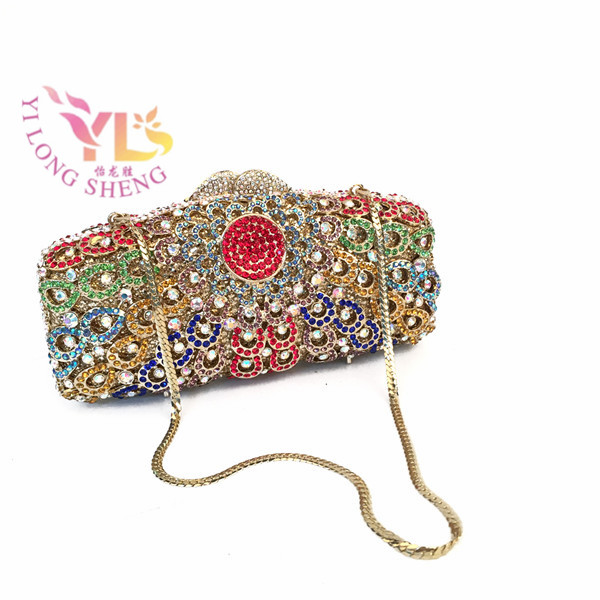 ФОТО YILONGSHENG Women Stylish And Luxury Flower Design Crystal Clutch Bag