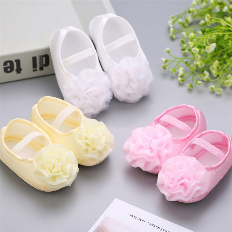 2019 Baptism Baby Girl Sapato Bebe Menina Rosset Shoes Rhinestone Flowers Headband Barefoot Infant Baby Girl Shoes 2pcs Set