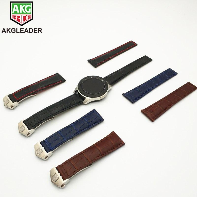 AKGLEADER date bracelet de montre en cuir véritable bande pour Samsung Galaxy montre 46mm 42mm Gear S3 frontière classique Huami Amazfit 22mm