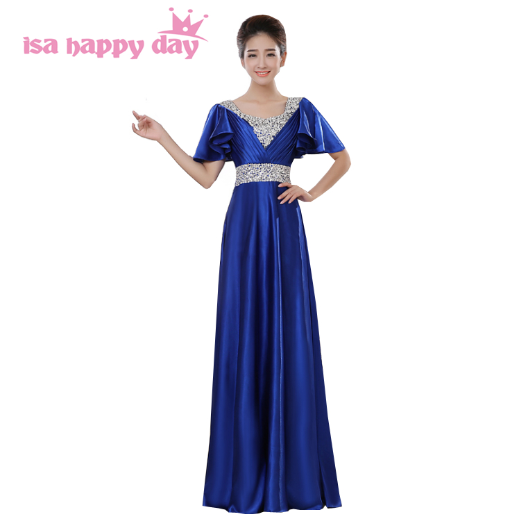 Semi Formal Modest Long Special Occasion Blue Cap Sleeved Bridesmaid