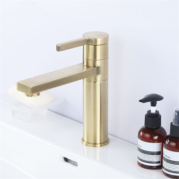 Basin Faucet Brass Sink Mixer Tap Hot & Cold Bathroom Brushed Gold Faucet Single Handle Deck Mounted Rotating Lavatory Crane Tap