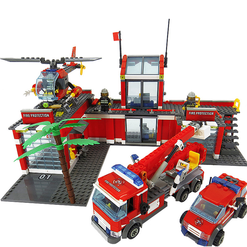 774pcs City Fire Station Firefighter Playmobil DIY Building Blocks Educational Bricks Toys Compatible with LegoINGly City kazi new 774pcs city fire station truck helicopter firefighter minis building blocks bricks toys brinquedos toys for children