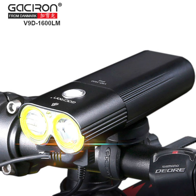 GACIRON V9D Cycling Front lights Bike CREE L2 LED USB Rechargeable Bicycle lights with W05 Rear light Taillight 6000lumens bike bicycle light cree xml t6 led flashlight torch mount holder warning rear flash light