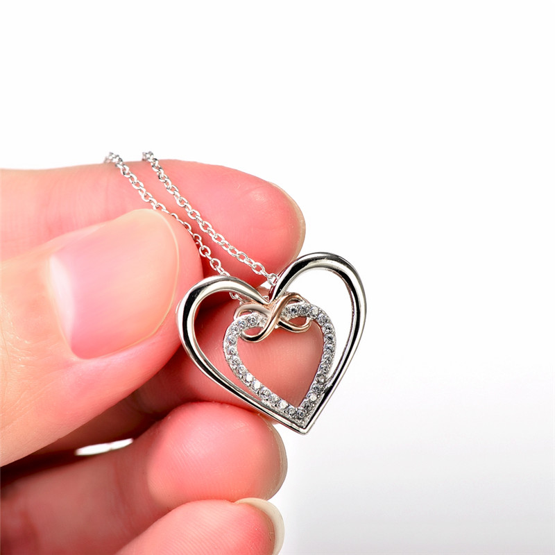 Genuine 925 sterling silver love heart pendants necklaces romantic genuine 925 sterling silver love heart pendants necklaces romantic crystal infinity love necklace for lovers women gift gnx10892 in pendant necklaces from mozeypictures Gallery