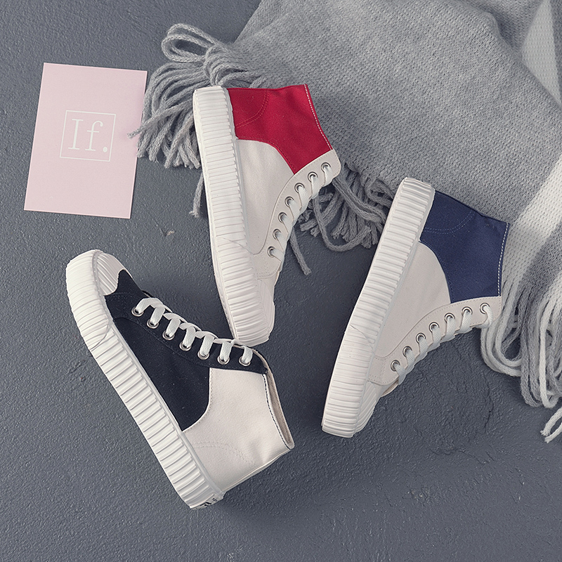 Canvas shoes 2018 women shoes fashion zipper wedge women sneakers high help solid color ladies shoes woman