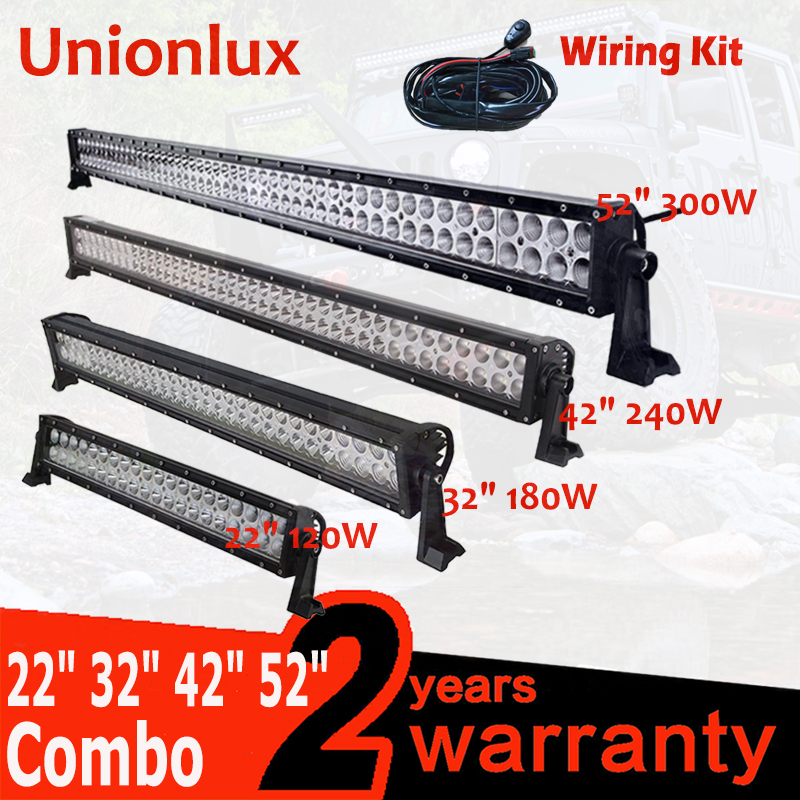 Straight 22 32 42 50 52 Inch 12V 24V 120w 180w 240w 288w 300w Led Work Light Bar Offroad Car Spot Flood 4 x4 4WD SUV ATV