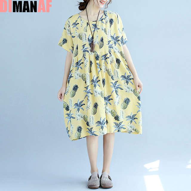 cf7d3025108f7 US $26.8 |DIMANAF Plus Size Summer Dress Women Linen Floral Female Hawaiian  Dress Beach Midi Style Sweet Loose Large Size Yellow Fat Dress-in Dresses  ...