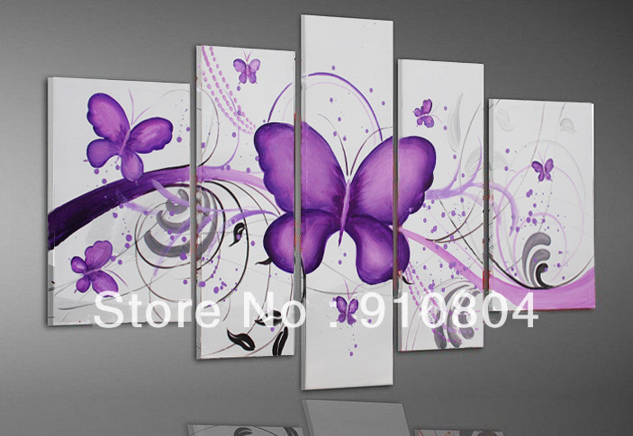Framed 5 Panel Painted High End Huge Purple Butterfly Oil Painting Canvas Art Wall Decor Picture L1297 - 99$ store