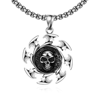 High Quality Gothic Stainless Steel Skeleton Skull Necklaces Boy Men S Vintage American Jewelry Steampunk Gear