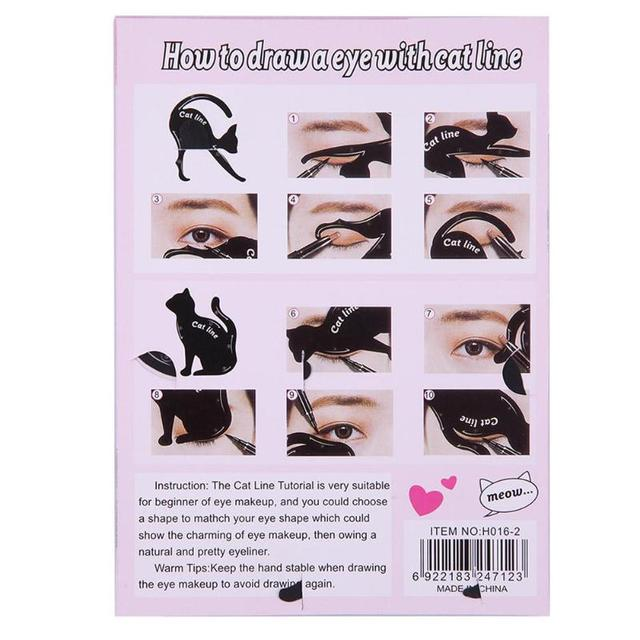 Hot 2pcs/Set Beauty Eyebrow mold Cat  Eye Makeup Tool Eyeliner Stencil Makeup Eyebrow Models Stamp Template Card for women girl 4