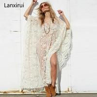 Tunics Women Big Size Sexy See Through Blouses Shirt Floor Length Hollow Out Lace Crochet Maxi Kimono Cardigan Beach