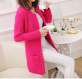 Free Shipping High Quality Autumn Winter New Arrival Mohair Korean Pure Color Candy Color Woman Cardigan