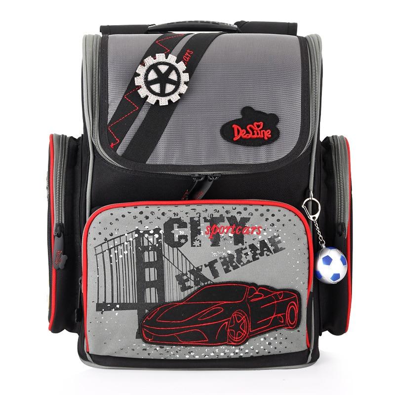 Factory Outlet Delune Kids New School Rucksacks Bags Boys Cartoon Cars Character Applique Ergonomic Design School Backpack Bags