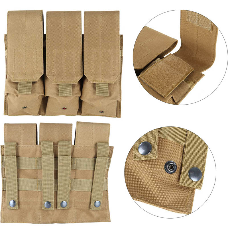 Outdoor Airsoft Molle Tactical Triple AR15 M4 5.56mm Mag Magazine Pouch Pistol Handgun Shooting Vest Tool Dump Drop Bag