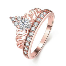 Deelan Crown Rings For Women Jewelry Zirkonia Rose Gold Color Women Engagement Ring Romantic Luxury Party Wedding Gift(China)