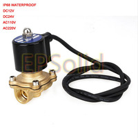Free Shipping DC 12V 1/2 NBR Waterproof Solid Coil Electric Solenoid Valve Gas Water Fuels Air Solid Coil Normally Closed IP68