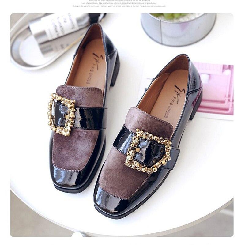 7b06f227acd78 Mi Boucle Troupeau Cuir Femmes Japonais kaki Cristal Noir Oxford Décorer  Chaussures Talon Ceinture Automne Patchwork ...