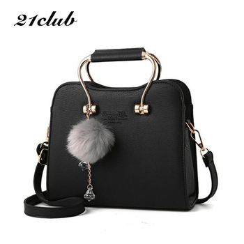 21club brand women chains charming flap solid hairball metal handle handabg new ladies purse messenger crossbody shoulder bags