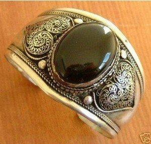 Tibet silver inlay jade bracelet shipping free