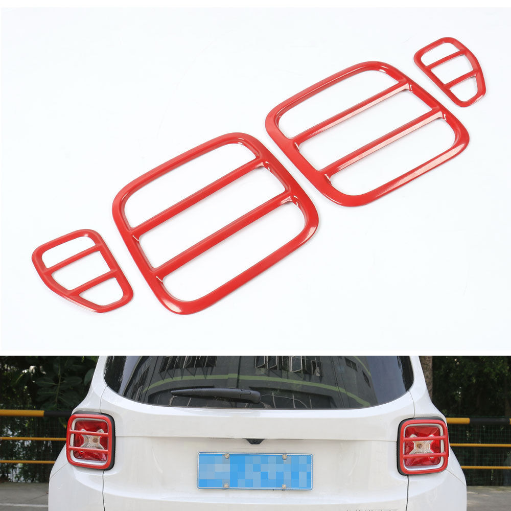 ФОТО New Car styling Taillight Tail Light Lamp Protector Iron Cover Trim Red For Jeep Renegade 15 16 Car protective accessories