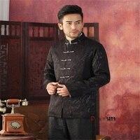 Hot Sale Black Chinese Traditional Men S Mandarin Collar Jacket Seven Buckle Coat Race Breeze Tang