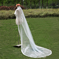 Pretty 2.5m Meters Wedding Bridal Veils Long With Comb Ivory White Elegant One Layer Appliques Crystal Veil Wedding Accessories