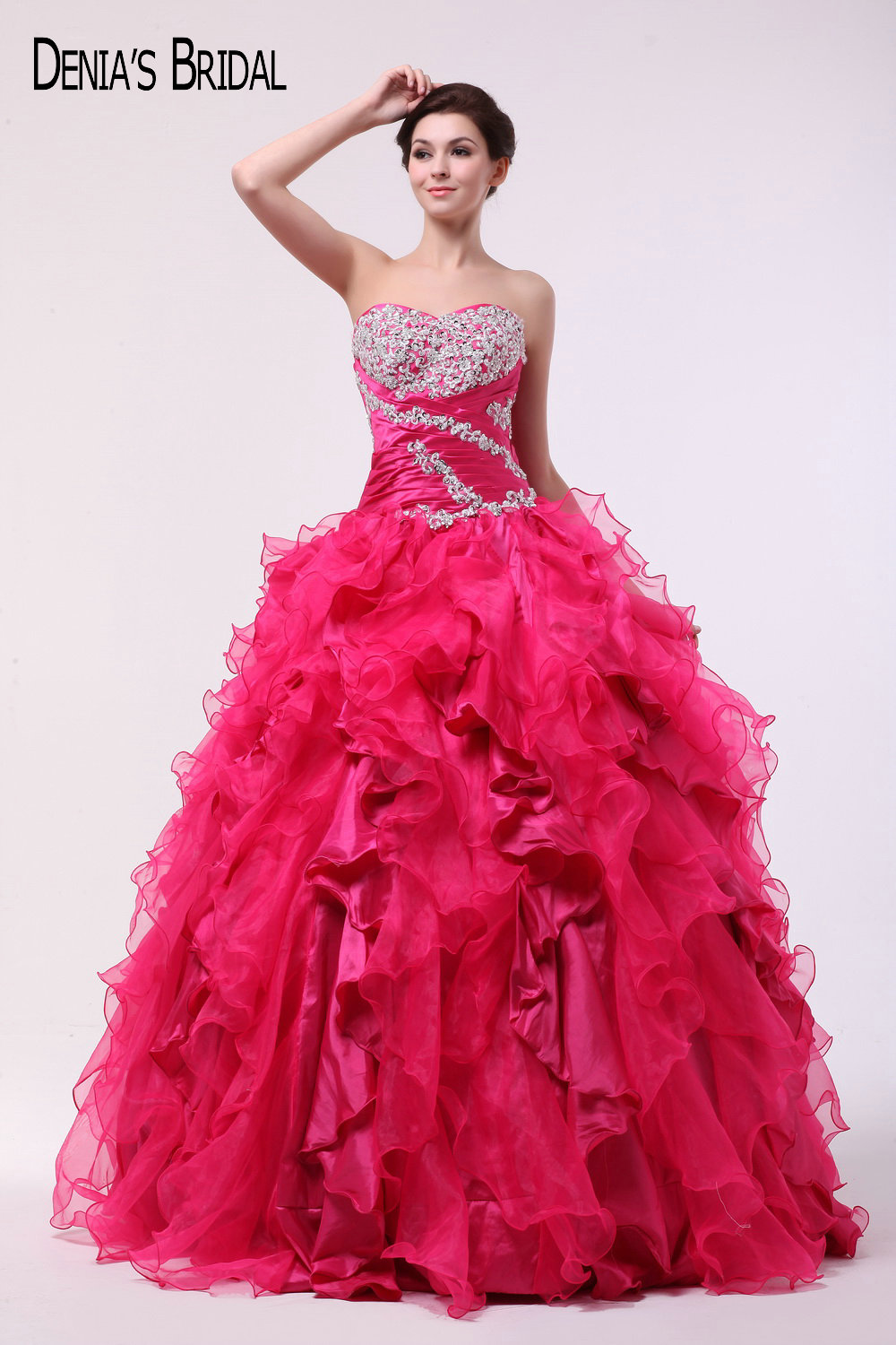 2017 Dark Pink Ball Gown   Evening     Dresses   with Sweetheart Neckline Ruffles Beaded Appliques Floor Length Party Prom Gowns