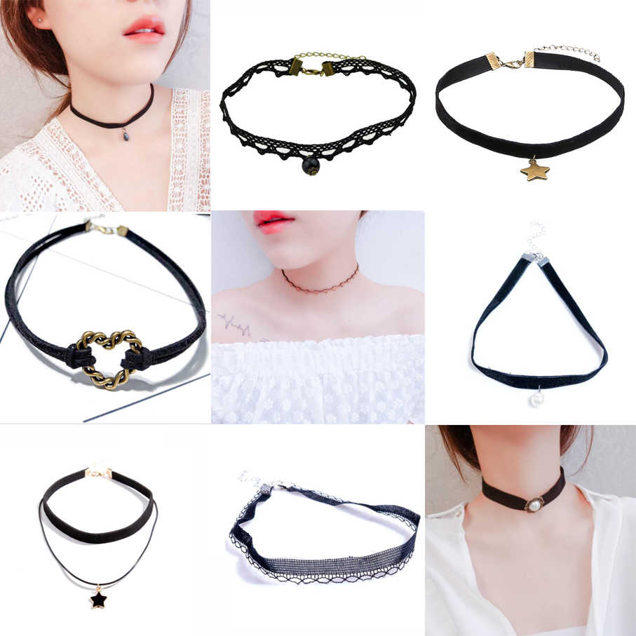 Collar Necklace For Woman Girl Fashion Jewelry Lace Velvet Trend Summer Gift Simple Black Sequins Pearl Pendant Star Lace Heart