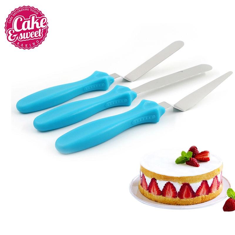 3ks / set Krémový nůž Spatula Cranked / Angled Spatula Palette Nůž Cake Dekorační nástroje Pečení pečiva Špachtle Bent