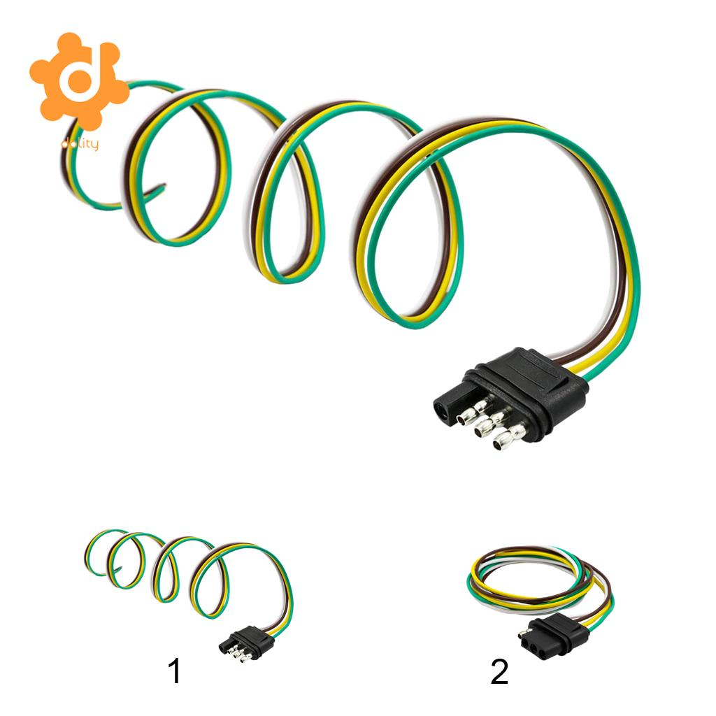 Dolity 4way Flat Trailer Wire Harness Extension Connector Socket Expo With 36 Cable Us Black 1