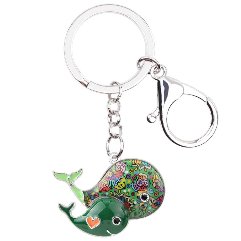 Bonsny esmalte aleación ballena llavero bolso encanto nuevo llavero accesorios moda océano Animal joyería para mujeres
