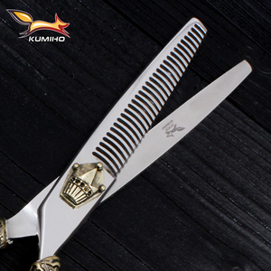 Image 5 - KUMIHO Japanese hair scissors kit 1 cutting scissors and 1 thinning scissors with leather case hair shear with crown handle