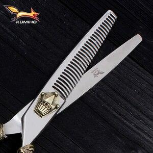 Image 5 - KUMIHO kit de ciseaux à cheveux japonais 1 ciseaux de coupe et 1 ciseaux amincissants avec étui en cuir cisaille à cheveux avec poignée couronne