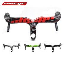 ULLICYC Carbono negro/piloto rojo manillar de la bicicleta del camino del carbón integrado con nueva fibra del carbón del camino 400/420/440*90/100/110/120mm