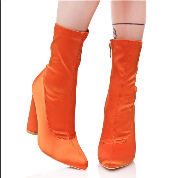 Autumn Winter short boots for women pointed toe high thick heel shoes orange black stretch fabric ankle boots lady booties