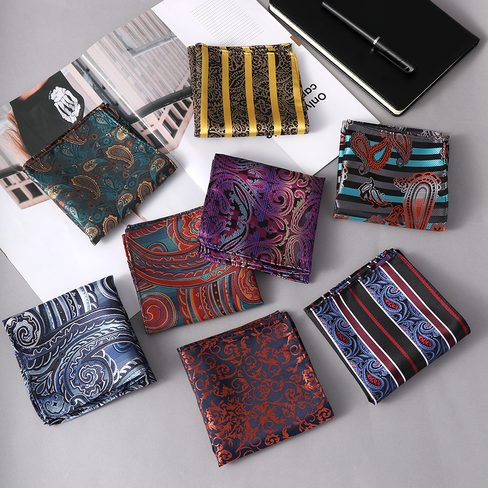 2019 New 25*25cm Luxury Men 100% Silk Handkerchief Paisley Floral Jacquard Women Pocket Square Towel For Business Wedding Party