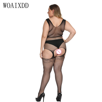 цены Plus size Sexy Open Crotch Hollow Out Garter Belt Sheer Mesh Bodystockings Crotchless Open Butt Lingerie Body Stockings Bodysuit
