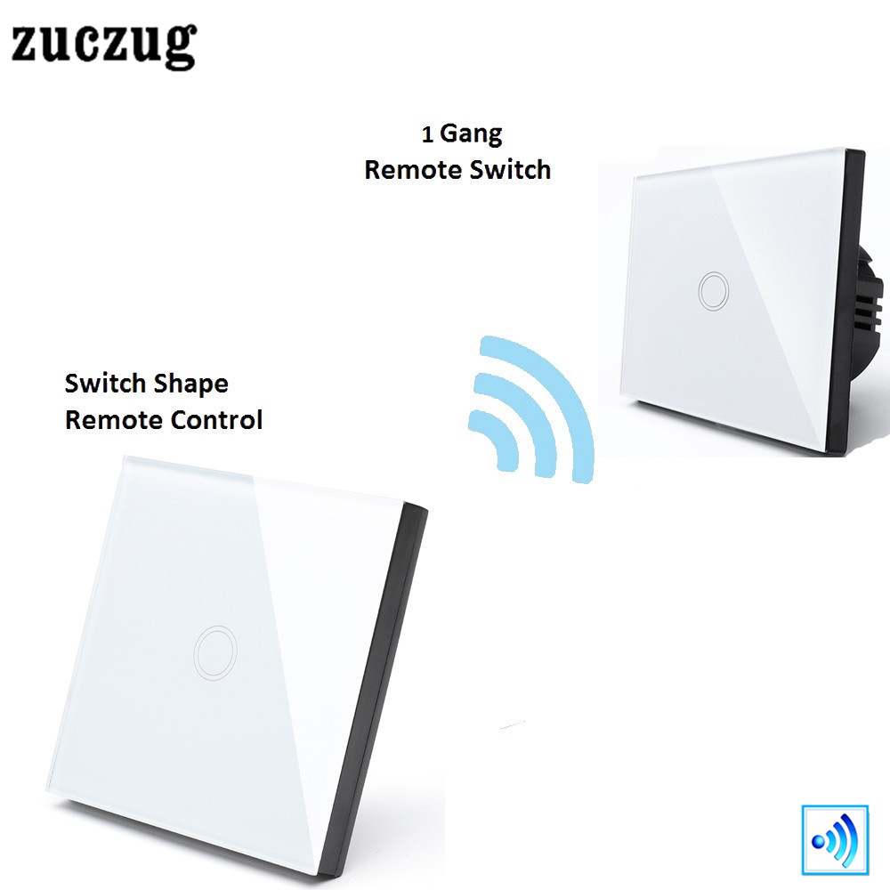 Zuczug Interruptor Touch Remote Wireless Switch 1 Gang Remote Controller , Smart Home Crystal Glass Panel 433.92MHz EU/UK 2017 smart home crystal glass panel wall switch wireless remote light switch us 1 gang wall light touch switch with controller