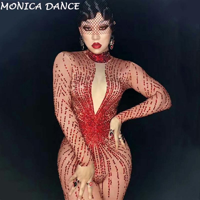 Usure Célébrer Femmes Femelle Bling Chanteur Stade Dj Porter Salopette Barboteuses Anniversaire Sexy De Jumpsuit Body Outfit Rouge Costume Strass wOxZw6Xz