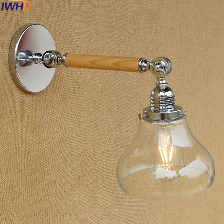 IWHD Glass Wandlamp Vintag LED Wall Lamp Light Up Down Swing Arm Wall Sconce Home Lighting Fixtures Luminaire Lampara De Pared led wall sconce wooden simple modern wall lamp fixtures bedroom indoor lighting luminaire lampara pared wandlamp
