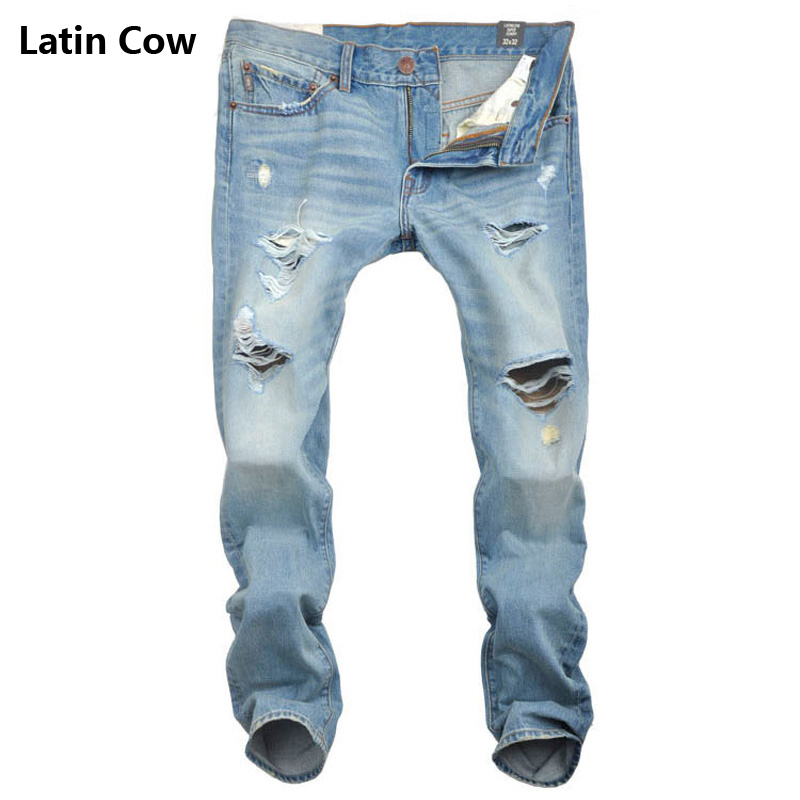 classic cowboy high quality blue destroyed jeans motorcycle brand clothing mid stripe slim fit mens moto jeans uomo pants T60026 classic mid stripe men s buttons jeans ripped slim fit denim pants male high quality vintage brand clothing moto jeans men rl617