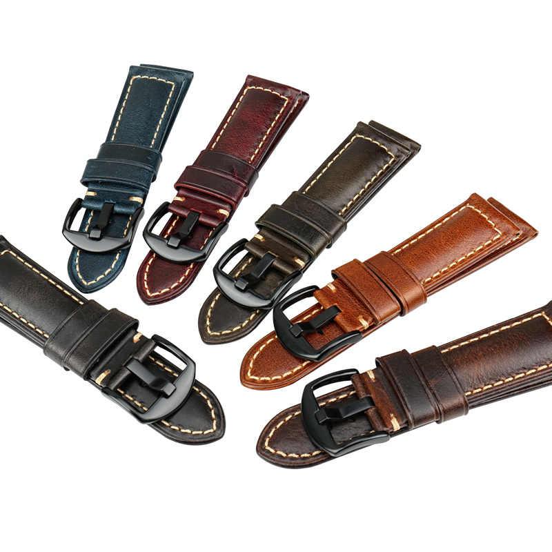 MAIKES นาฬิกาข้อมือสายนาฬิกา 20mm 22mm 24mm 26mm Vintage สำหรับนาฬิกา Panerai fossil Watch