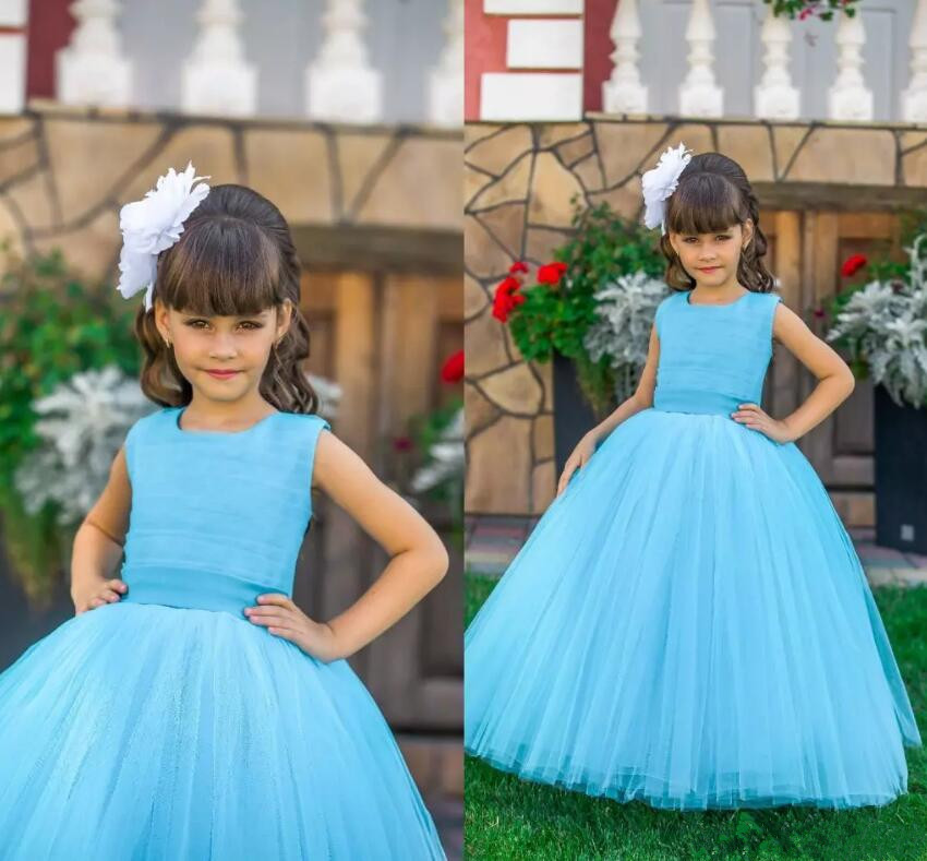 New Blue Puffy Tulle Flower Girl Dresses Crew Neck Ball Gown for Wedding Vintage Little Girl Pageant Party Dresses size 2-16 professional deep search metal detector md6350 underground gold high sensitivity and lcd display metal detector finder