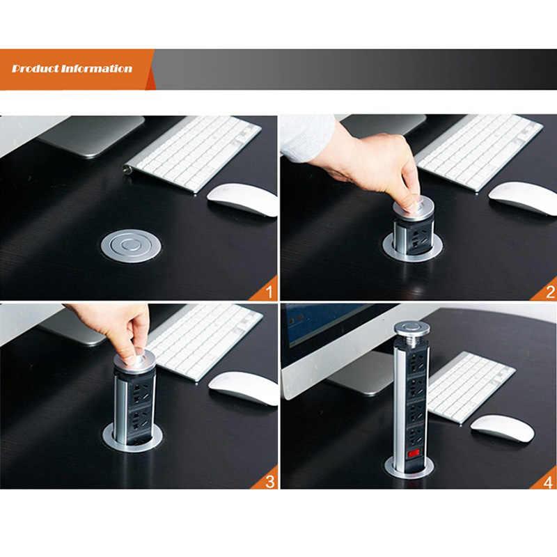 lzndeal Tirando Pop Up Electrical 3 Enchufe 2 Enchufe USB Cocina Mesa para mostrador Escritorio Oficina Inicio