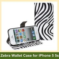 Luxury Zebra Leopard Print PU Leather Wallet Flip Cover Case For Apple IPhone 5 5s Free