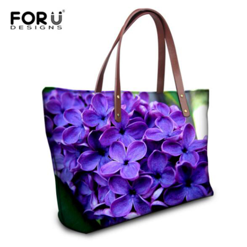 FORUDESIGNS Fashion Women Handbags,2017 Summer Beach Bag Woman,Flower Printing Shoulder Bag,Ladies Large Casual Tote Hand Bags forudesigns casual women handbags peacock feather printed shopping bag large capacity ladies handbags vintage bolsa feminina