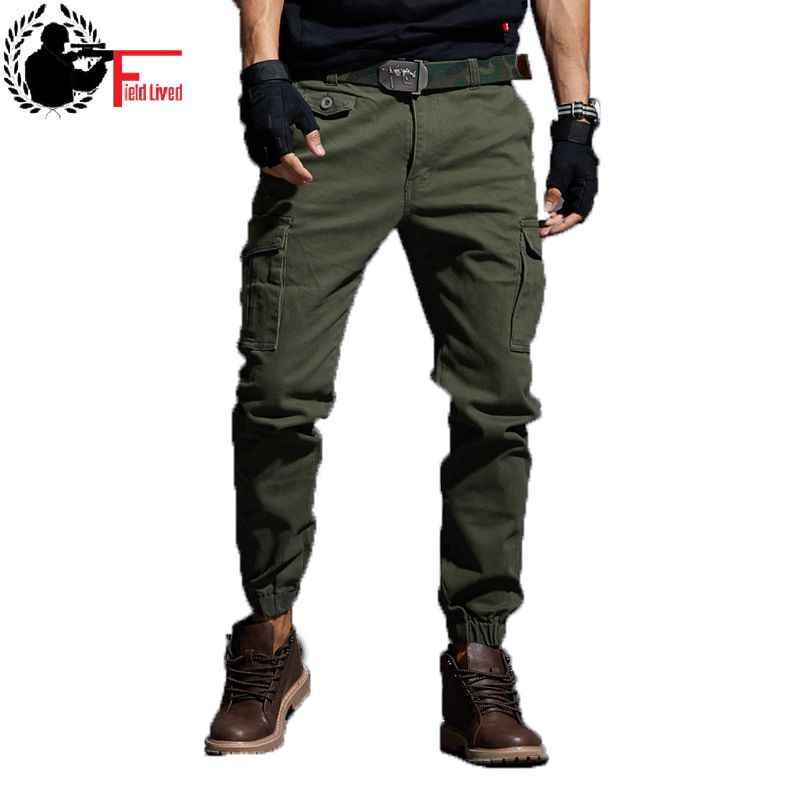 3aa096b3b2 ... Mens Slim Fit Trousers Elastic Stretch Skinny Pants Tactical Military Cargo  Pants Multi Pocket Cotton Ankle ...