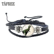 TAFREE Classic Dinosaurs Leather Bracelet Black Braided Corp Glass Cabochon Animal Charm Jewelry Gift NS297