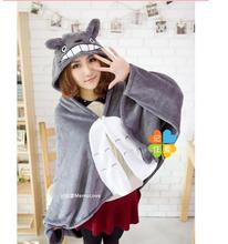 2017 New Cosplay Totoro Lovely Plush Soft Cloak Cape Cat Cartoon Coral Fleece Air Blankets Birthday Valentine Gift